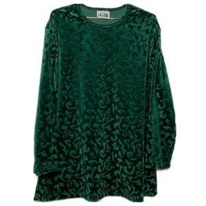 Vintage Green Velvet Tunic Top